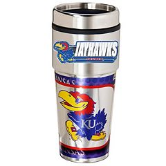 Kansas Jayhawks Stainless Steel Metallic Travel Tumbler