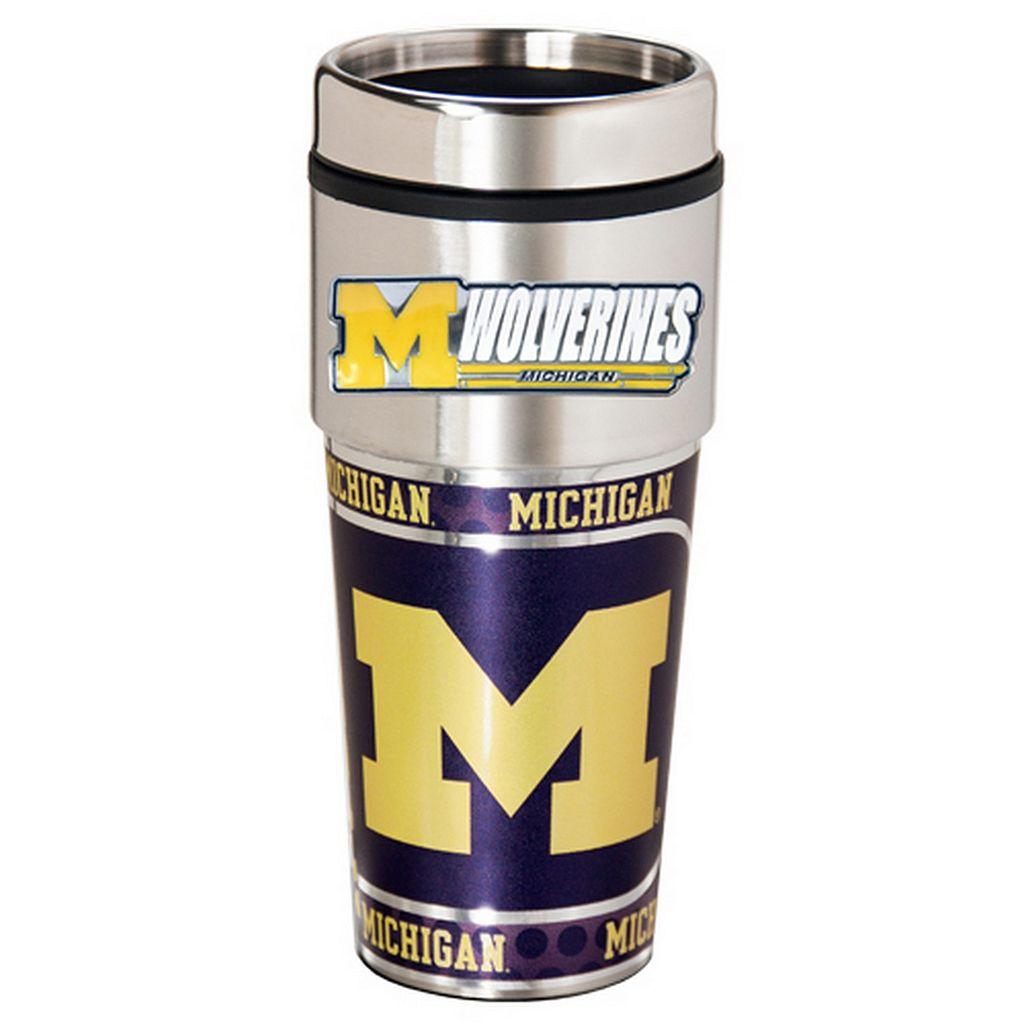 Michigan Wolverines Stainless Steel Metallic Travel Tumbler