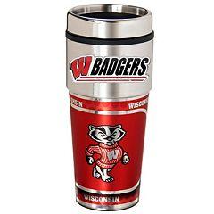 Wisconsin Badgers Stainless Steel Metallic Travel Tumbler