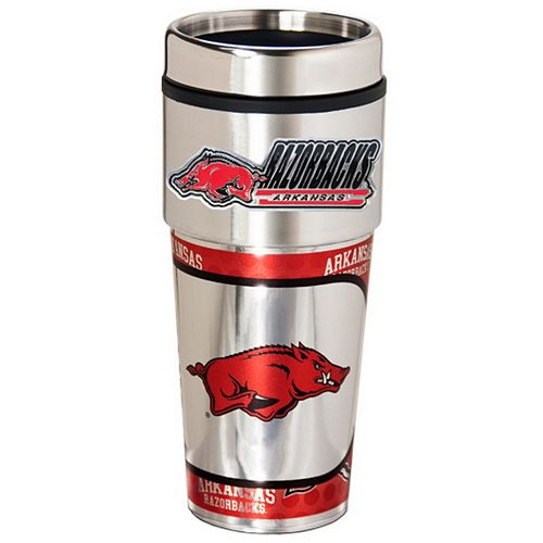 Arkansas Razorbacks Stainless Steel Metallic Travel Tumbler