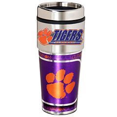 Clemson Tigers Stainless Steel Metallic Travel Tumbler
