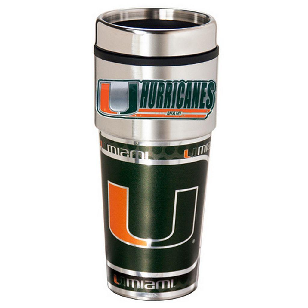Miami Hurricanes Stainless Steel Metallic Travel Tumbler