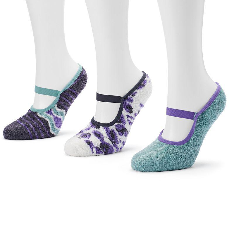 MUK LUKS 3-pk. Striped Mary Jane Aloe Low-Cut Socks