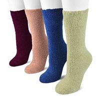 MUK LUKS 4-pk. Microchenille Crew Socks