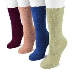 MUK LUKS 4 pkMicrochenille Crew Socks