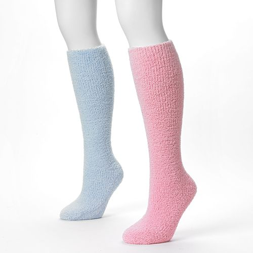 MUK LUKS 2-pk. Chenille Knee-High Slipper Socks