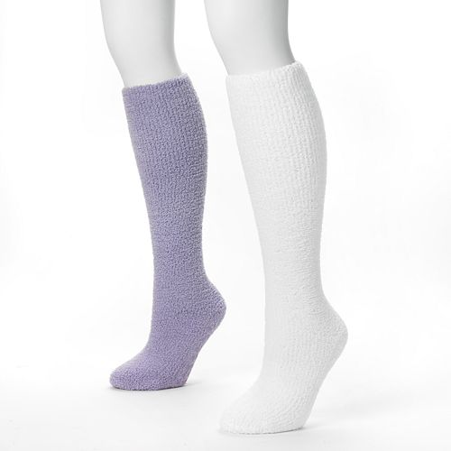 MUK LUKS 2-pk. Chenille Knee-High Slipper Socks