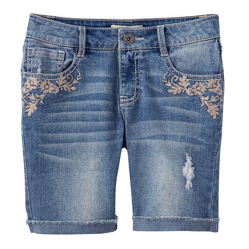 Mudd Embroidered Denim Shorts - Girls Plus