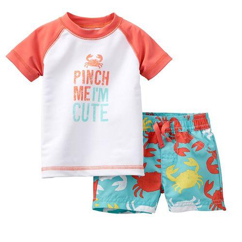 "Carter's ""Pinch Me I'm Cute"" Crab Rash Guard & Swim Trunks Set - Baby"