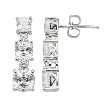 Emotions Sterling Silver Linear Drop Earrings - Made with Swarovski Cubic Zirconia