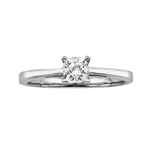 Forever Brilliant Cushion-Cut Lab-Created Moissanite Engagement Ring in 14k White Gold (1/2 ct. T.W.)