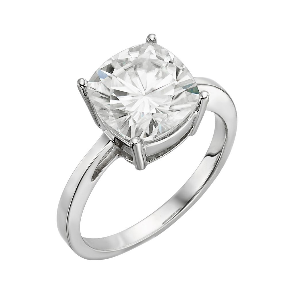 Forever Brilliant Cushion-Cut Lab-Created Moissanite Engagement Ring in 14k White Gold (4 1/5 ct. T.W.)