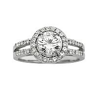 Forever Brilliant Round-Cut Lab-Created Moissanite Halo Engagement Ring in 14k White Gold (1 2/5 ctT.W.)