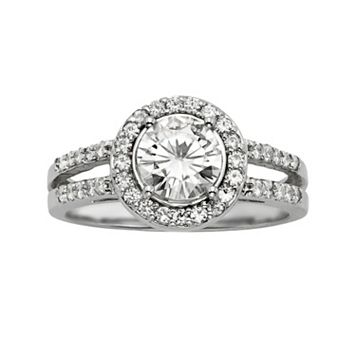 Forever Brilliant Round-Cut Lab-Created Moissanite Halo Engagement Ring in 14k White Gold (1 2/5 ct. T.W.)