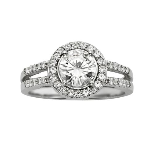 Brilliant Round Cut Lab Created Moissanite Halo Engagement Ring in