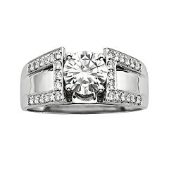 Forever Brilliant Round-Cut Lab-Created Moissanite Engagement Ring in 14k White Gold (1 3/10 ctT.W.)