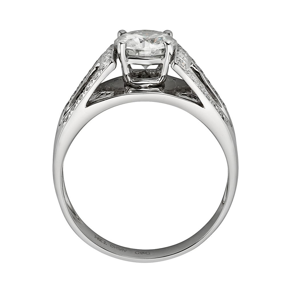 Forever Brilliant Round-Cut Lab-Created Moissanite Engagement Ring in 14k White Gold (1 3/10 ct. T.W.)