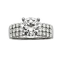 Forever Brilliant Round-Cut Lab-Created Moissanite 3-Row Engagement Ring in 14k White Gold (2 9/10 ctT.W.)