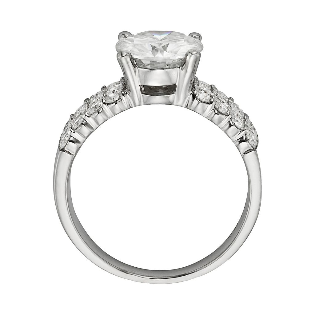 Forever Brilliant Round-Cut Lab-Created Moissanite 3-Row Engagement Ring in 14k White Gold (2 9/10 ct. T.W.)