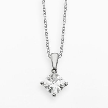Forever Brilliant 14k White Gold 1 1/10-ct. T.W. Cushion-Cut Lab-Created Moissanite Pendant