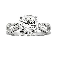 Forever Brilliant Round-Cut Lab-Created Moissanite Crisscross Engagement Ring in 14k White Gold (3 ctT.W.)