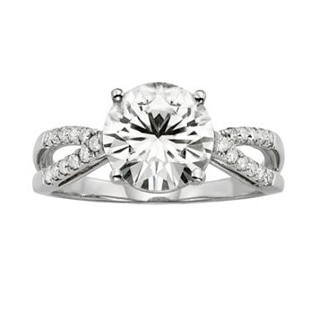 Forever Brilliant Round-Cut Lab-Created Moissanite Crisscross Engagement Ring in 14k White Gold (3 ct. T.W.)