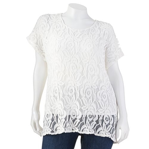 Plus Size Apt. 9® Lace Mixed-Media Top