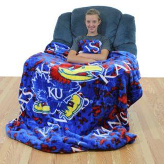 College Covers Kansas Jayhawks Raschel Throw Blanket