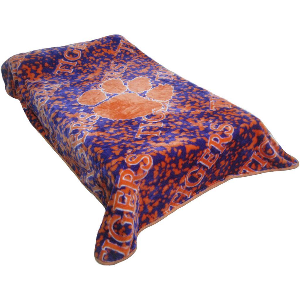 College Covers Clemson Tigers Raschel Throw Blanket