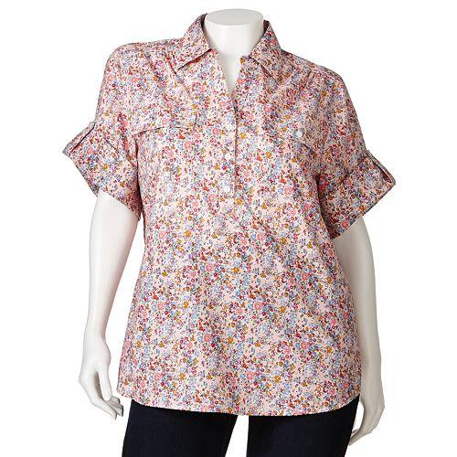d0326bd078134 Plus Size Cathy Daniels Floral Roll-Tab Shirt