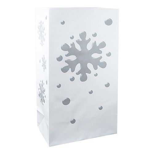 LumaBase 12-pk. Snowflake Flame-Resistant Luminaria Lantern Bags