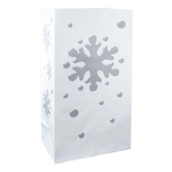 LumaBase 24-pk. Snowflake Luminaria Bags