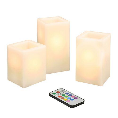 LumaBase 3-pc. LED Square Candle Set
