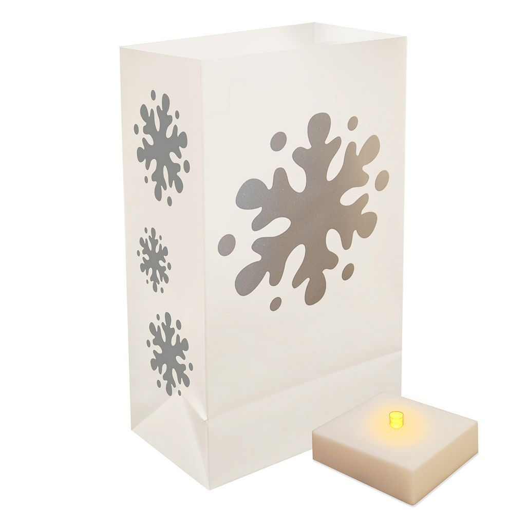 LumaBase 6-pk. LumaLite Timer & Snowflake Luminaria Bags