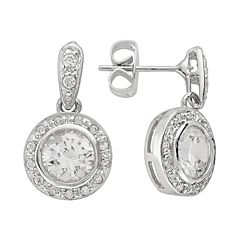 Silver-Plated Cubic Zirconia Halo Drop Earrings