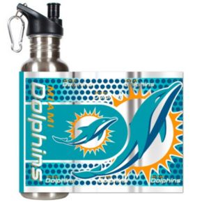 Miami Dolphins Stainless Steel Water Bottle With Wrap