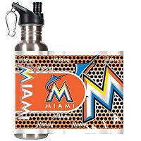 Miami Marlins Stainless Steel Water Bottle With Wrap