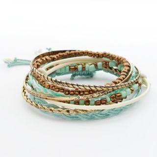 Mudd® Gold Tone Beaded Stretch and Bangle Bracelet Set