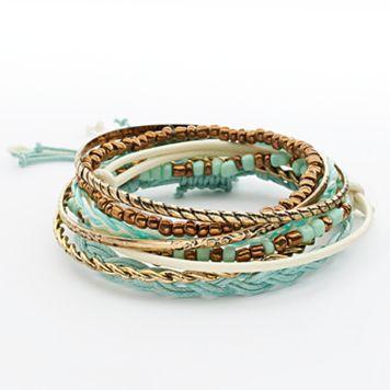 Mudd® Gold Tone Beaded Stretch & Bangle Bracelet Set