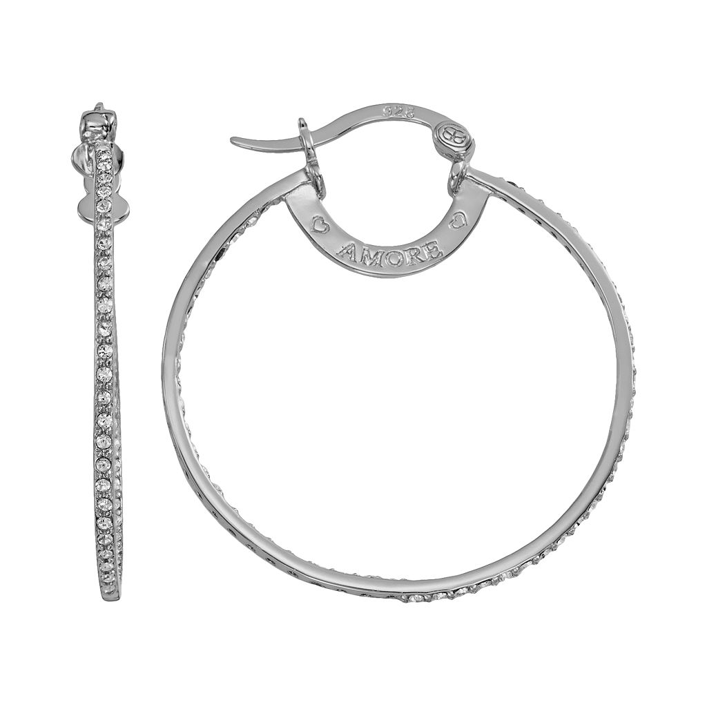 AMORE by SIMONE I. SMITH Platinum Over Silver Crystal Inside-Out Hoop Earrings