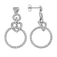 AMORE by SIMONE I. SMITH Platinum Over Silver Crystal Heart Hoop Drop Earrings