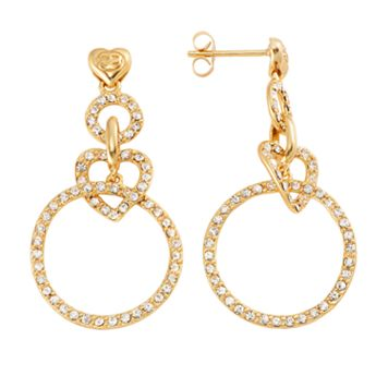 AMORE by SIMONE I. SMITH 18k Gold Over Silver Crystal Heart Hoop Drop Earrings