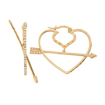 AMORE by SIMONE I. SMITH 18k Gold Over Silver Crystal Cupid's Arrow Heart Hoop Earrings