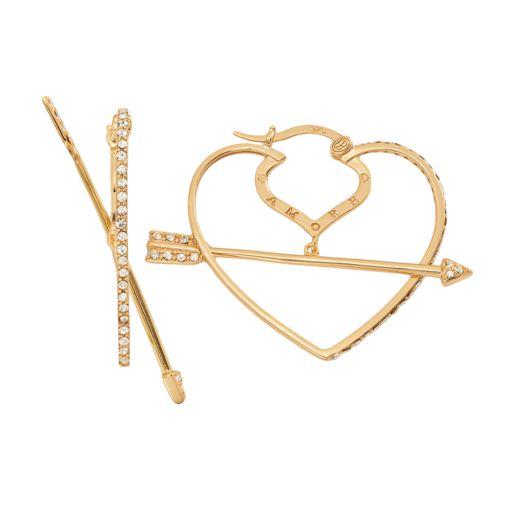 AMORE by SIMONE I. SMITH 18k Gold Over Silver Crystal Cupid's Arrow Heart Hoop Earrings