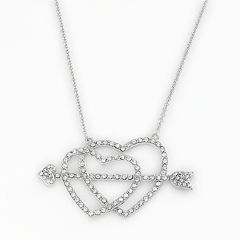 AMORE by SIMONE I. SMITH Platinum Over Silver Crystal Cupid's Arrow Heart Necklace