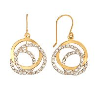 AMORE by SIMONE I. SMITH 18k Gold Over Silver & Sterling Silver Crystal Love Knot Drop Earrings