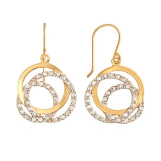 AMORE by SIMONE I. SMITH 18k Gold Over Silver and Sterling Silver Crystal Love Knot Drop Earrings