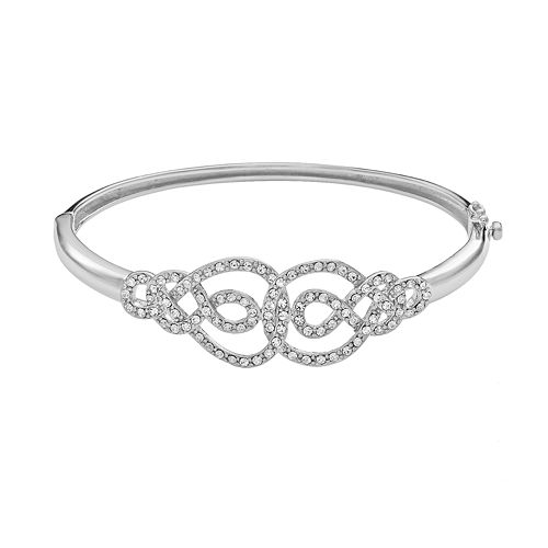 AMORE by SIMONE I. SMITH Platinum Over Silver Crystal Infinity Bangle Bracelet