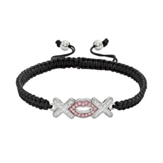 AMORE by SIMONE I. SMITH Platinum Over Silver Crystal Hugs and Kisses Woven Slipknot Bracelet