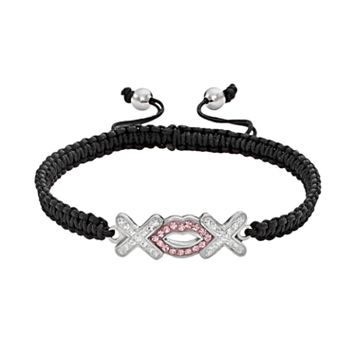AMORE by SIMONE I. SMITH Platinum Over Silver Crystal Hugs & Kisses Woven Slipknot Bracelet